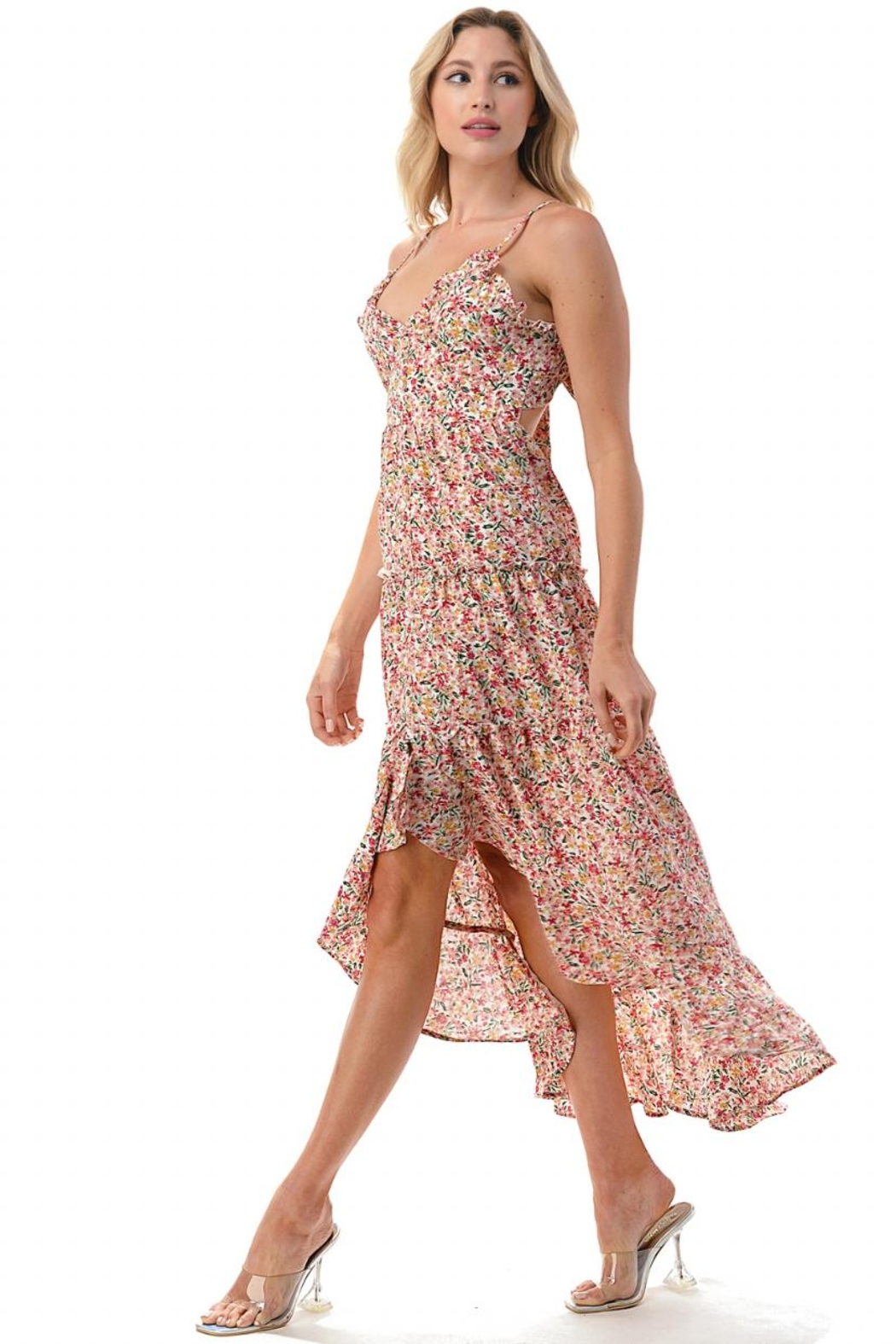 Chikas High-Low Floral Dress - Side Cropped Image