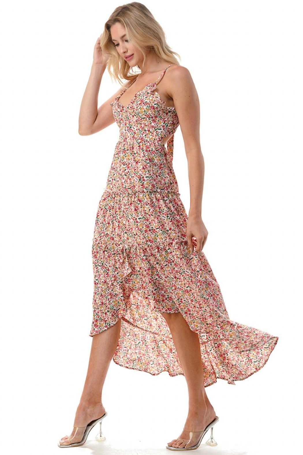 Chikas High-Low Floral Dress - Front Full Image