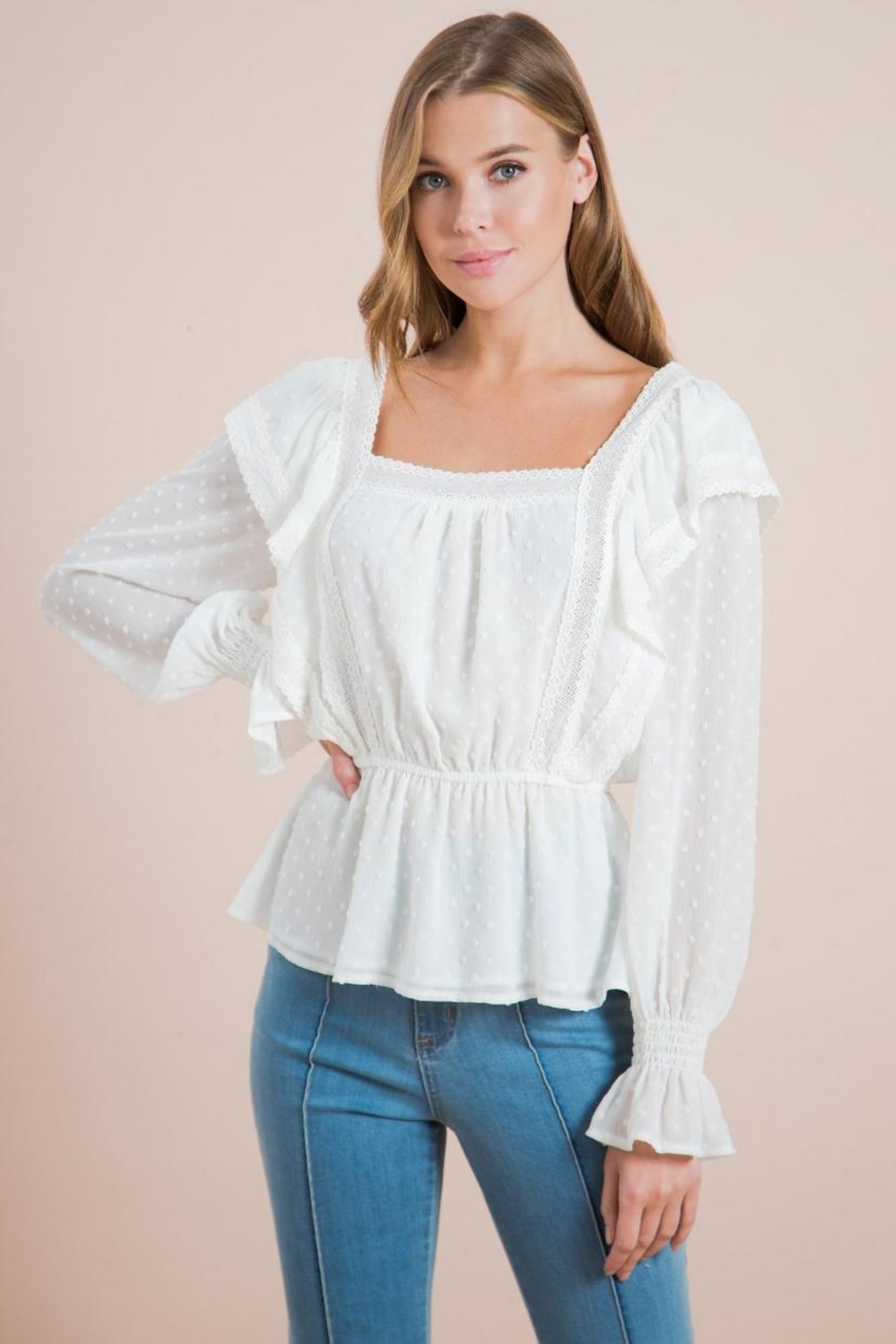 Chikas Lace Trim Top - Front Full Image