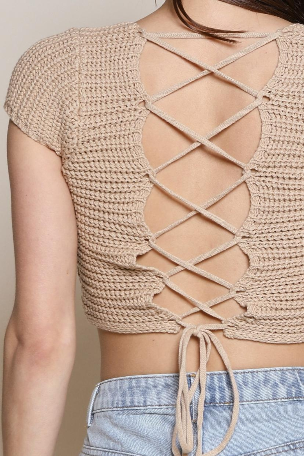Chikas Lace-Up Back Top - Front Full Image