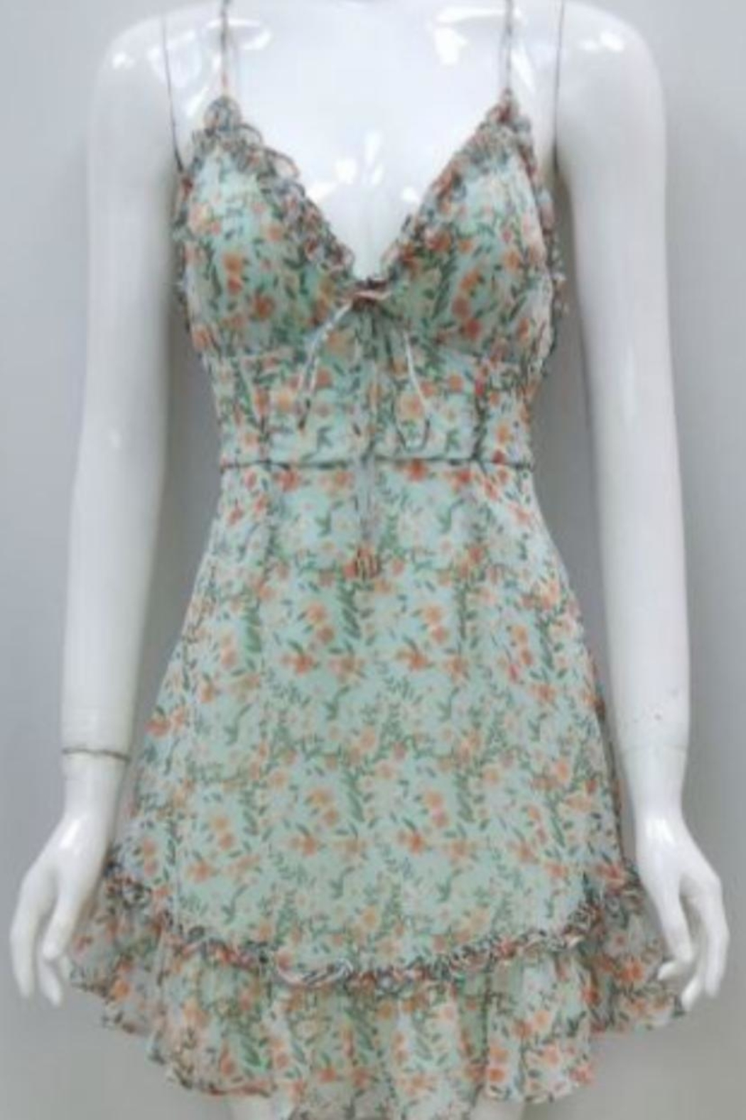 Chikas Mint Floral Dress - Front Cropped Image