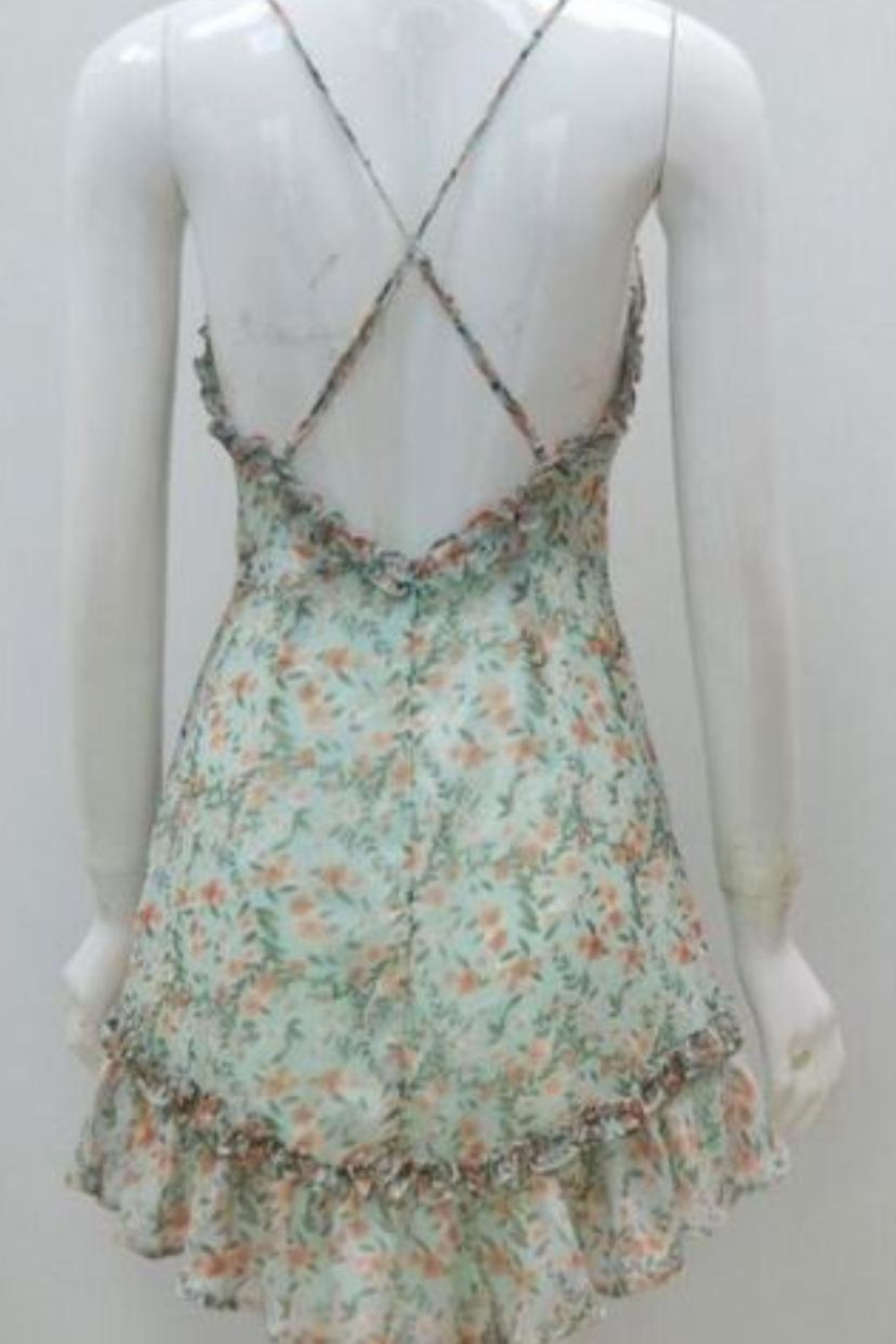 Chikas Mint Floral Dress - Front Full Image