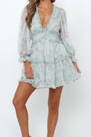 Chikas Mint Floral Dress - Front cropped