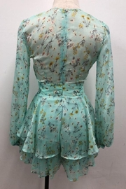 Chikas Mint Floral Romper - Front full body