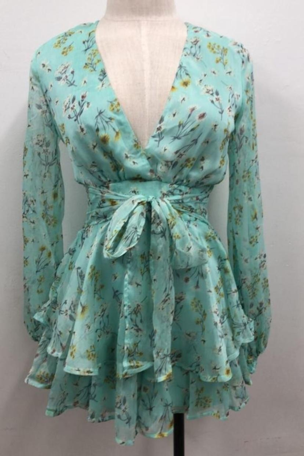 Chikas Mint Floral Romper - Front Cropped Image
