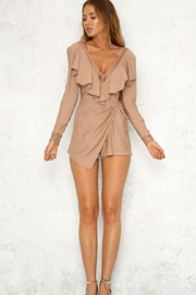 Chikas Mocha Ruffled Romper - Product Mini Image
