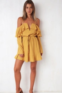 Chikas Mustard Cold-Shoulder Dress - Product List Image