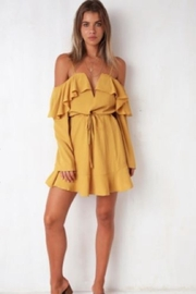 Chikas Mustard Cold-Shoulder Dress - Product Mini Image