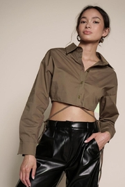 Chikas Olive Crop Top - Front cropped