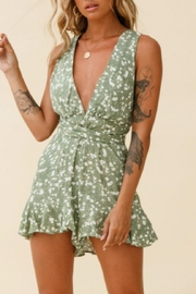 Chikas Olive Floral Romper - Front cropped