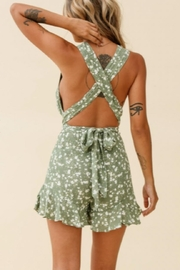 Chikas Olive Floral Romper - Front full body