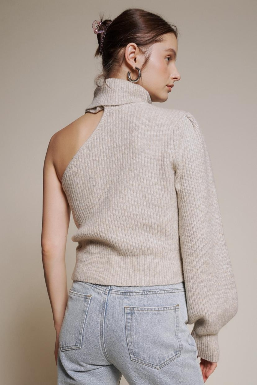 Chikas One Shoulder Sweater - Front Full Image