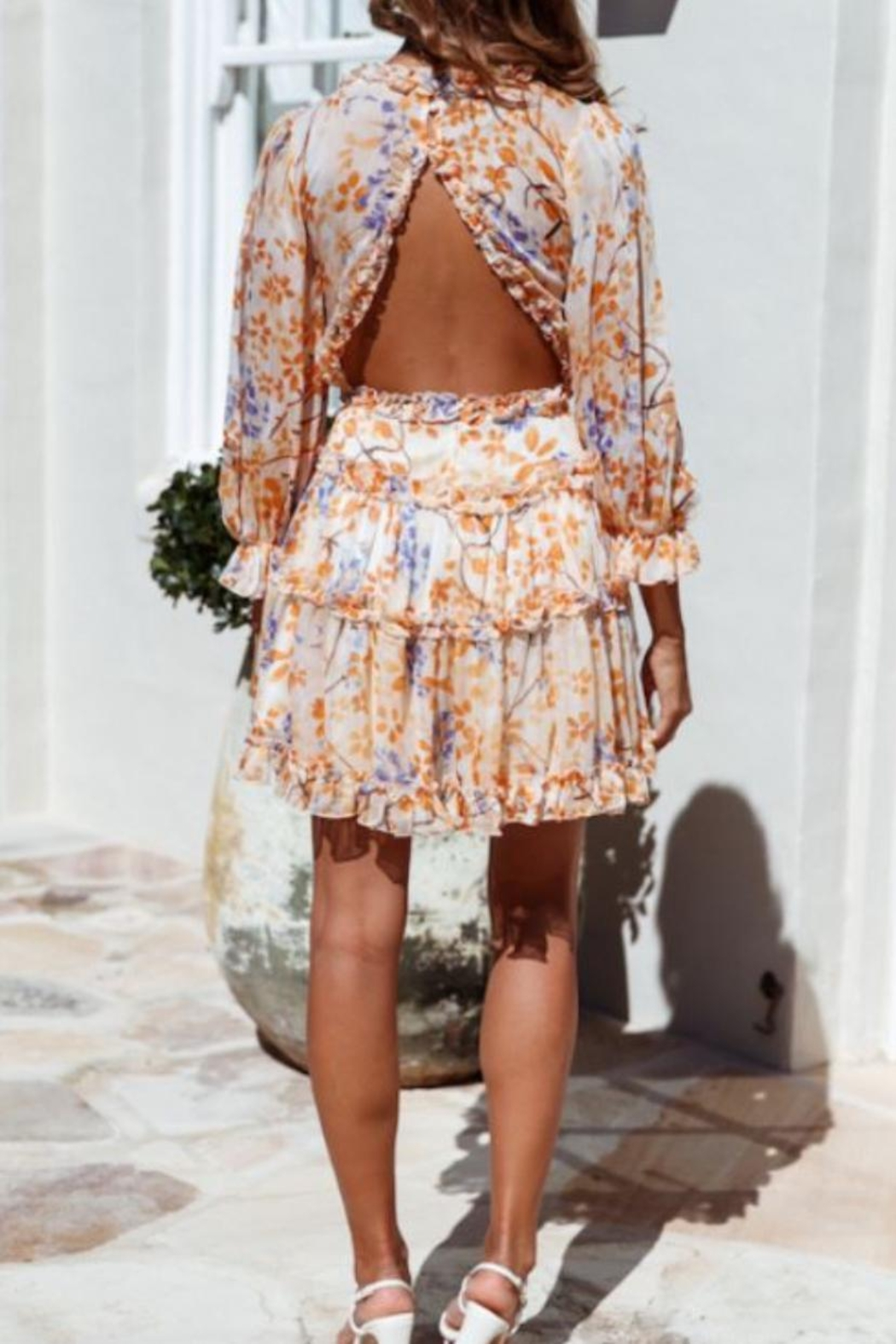 Chikas Open-Back Printed Dress - Front Full Image