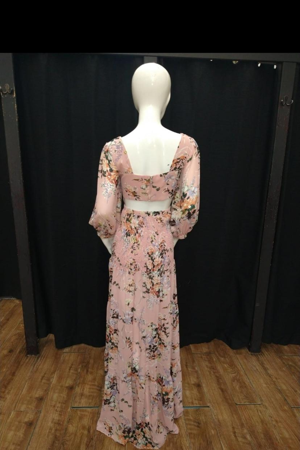 Chikas Open-Front Floral Maxi - Front Full Image