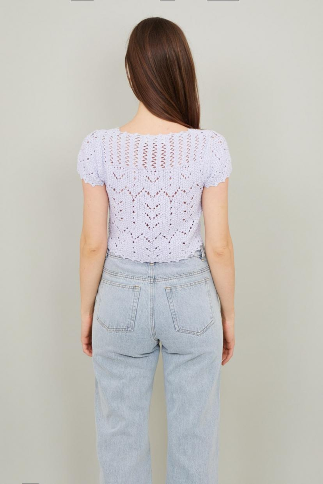 Chikas Periwinkle Crochet Top - Front Full Image