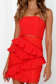 Chikas Red Strapless Dress - Front full body