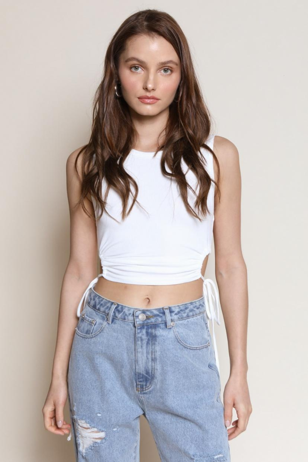 Chikas Ribbed Crop Top - Front Cropped Image