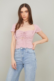 Chikas Ruched Drawstring Top - Product Mini Image