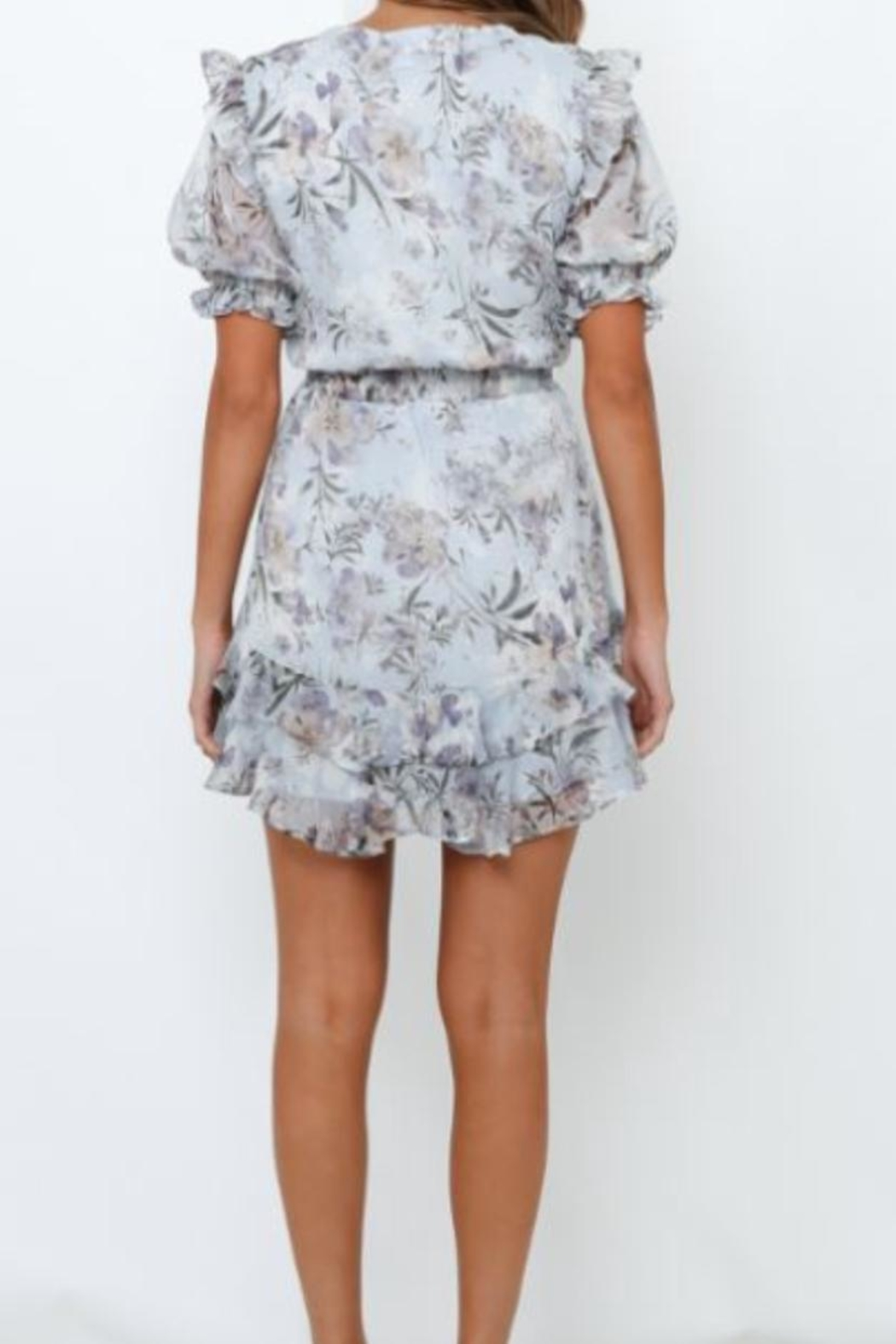 Chikas Ruffled Floral Dress - Front Full Image