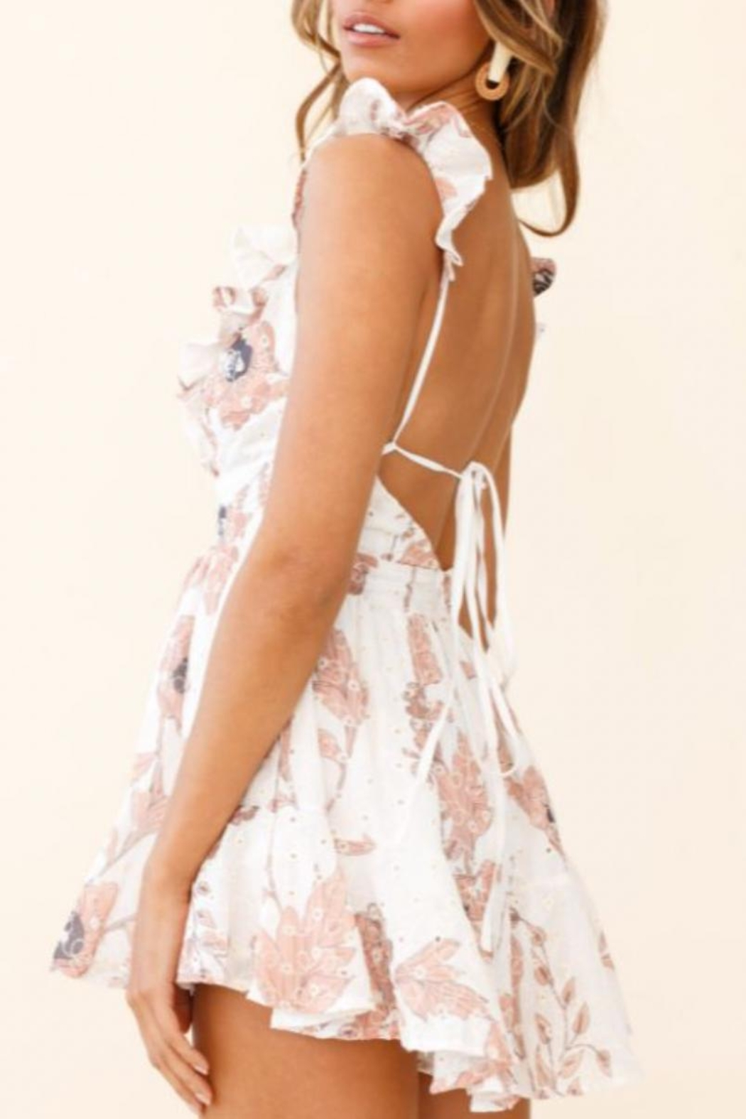 Chikas Ruffled Floral Romper - Front Full Image