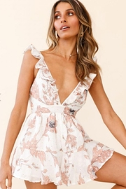 Chikas Ruffled Floral Romper - Front cropped