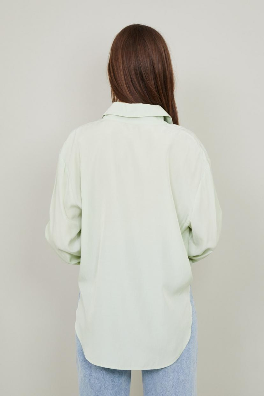 Chikas Sage Button-Down Top - Front Full Image