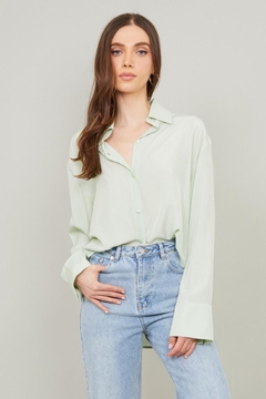 Chikas Sage Button-Down Top - Product List Image