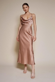 Chikas Satin Cowl-Neck Dress - Front cropped