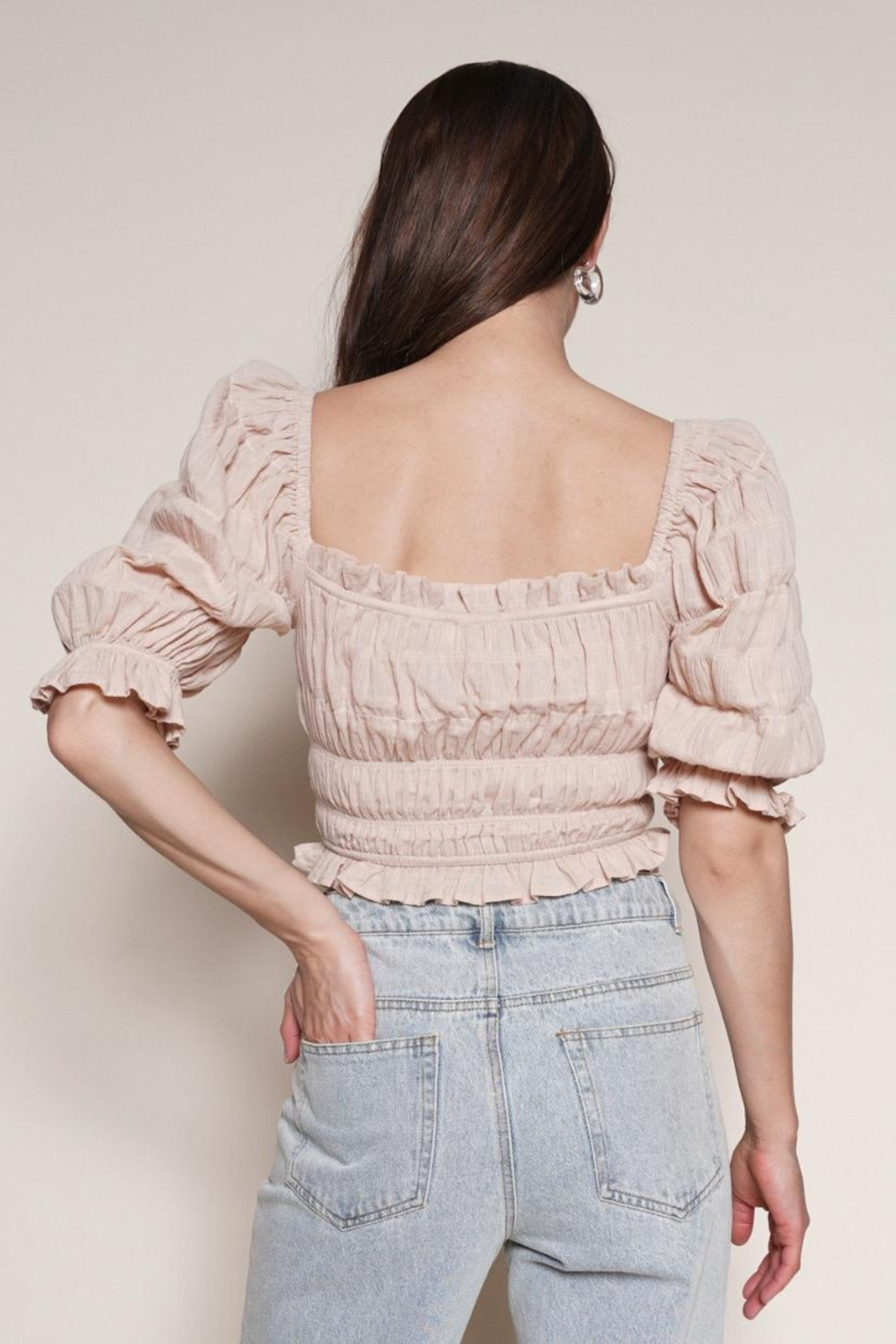 Chikas Smocked Puff-Sleeve Top - Front Full Image
