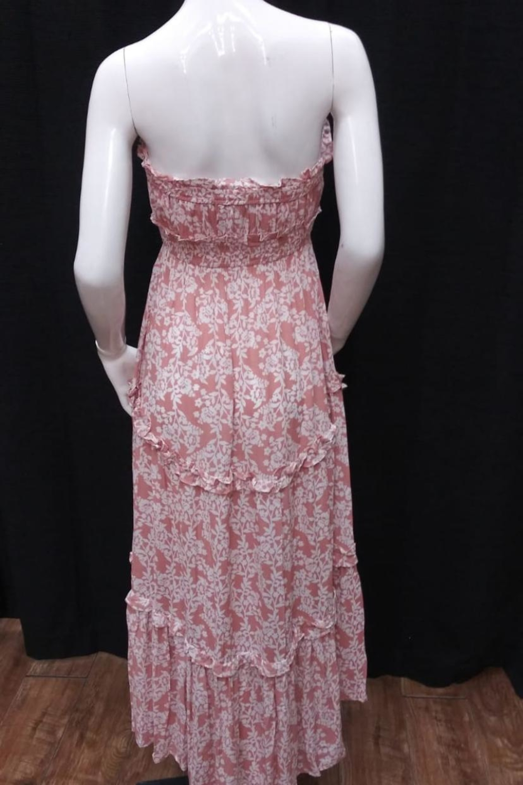 Chikas Strapless Floral Dress - Front Full Image
