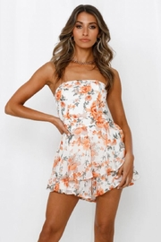 Chikas Strapless Floral Romper - Front cropped