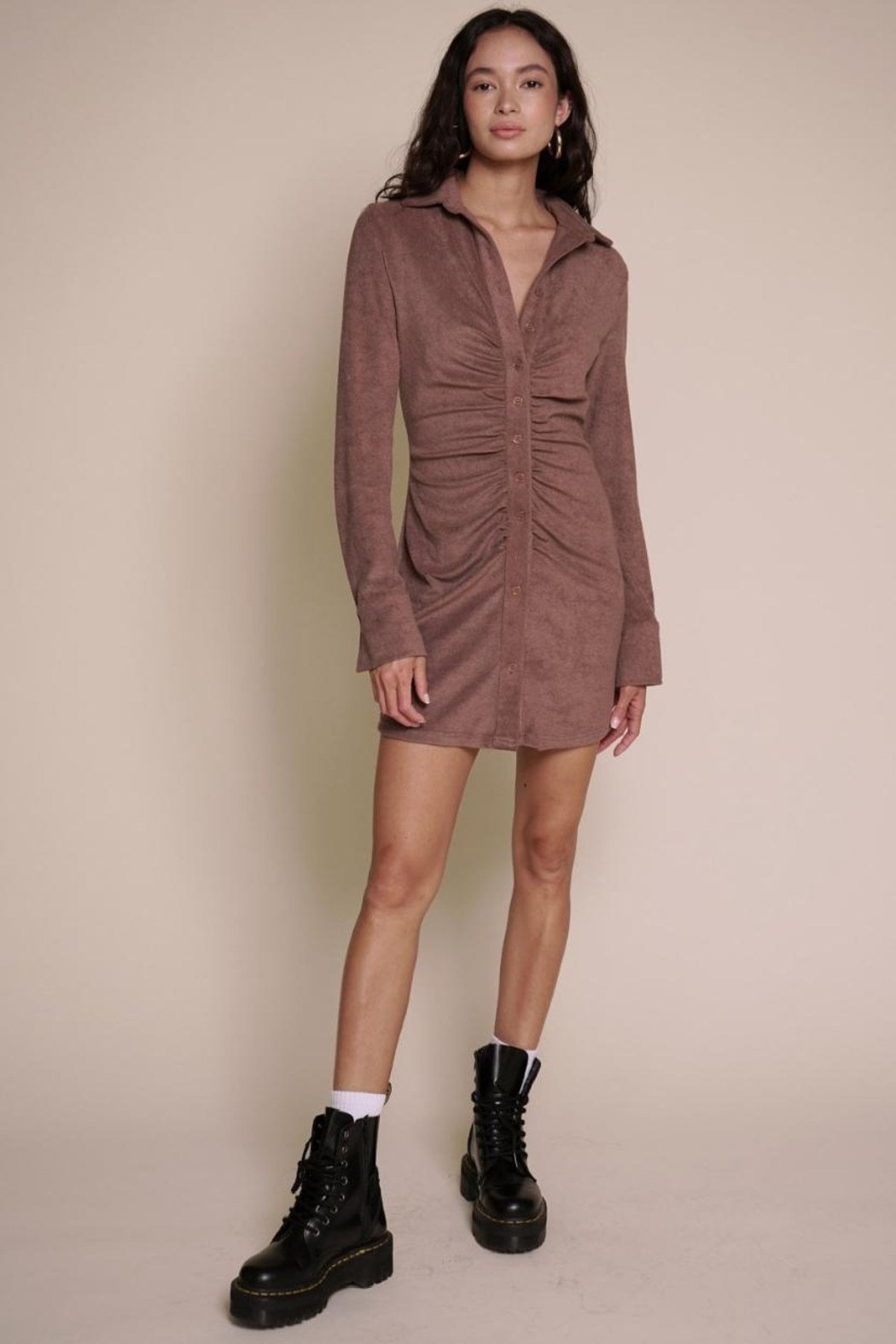 Chikas Suede Button-Down Dress - Main Image