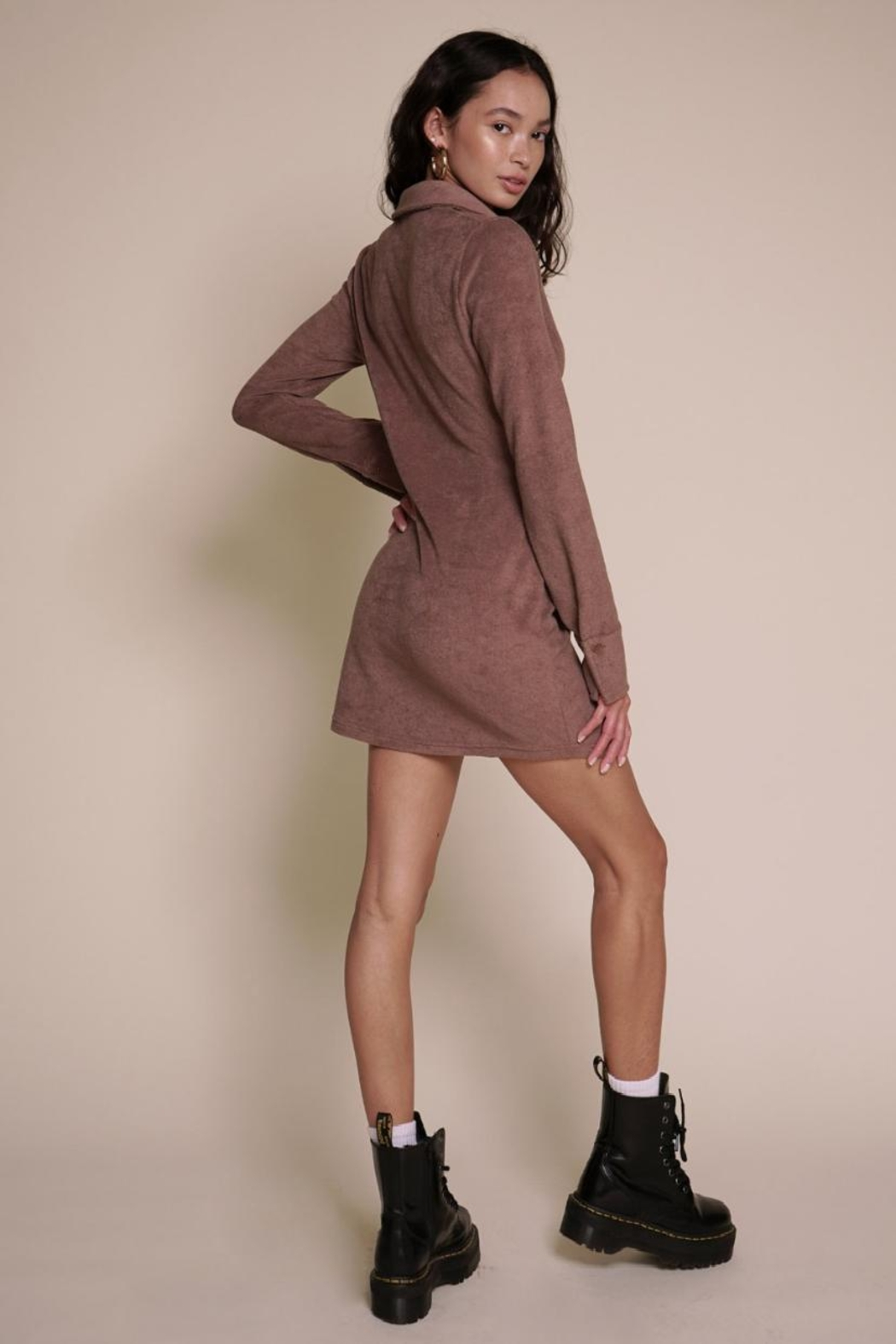 Chikas Suede Button-Down Dress - Front Full Image