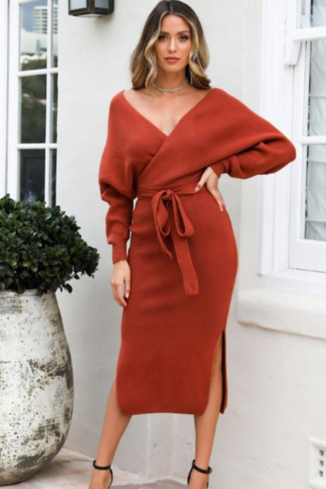 Chikas Sweater Midi Dress - Front Cropped Image