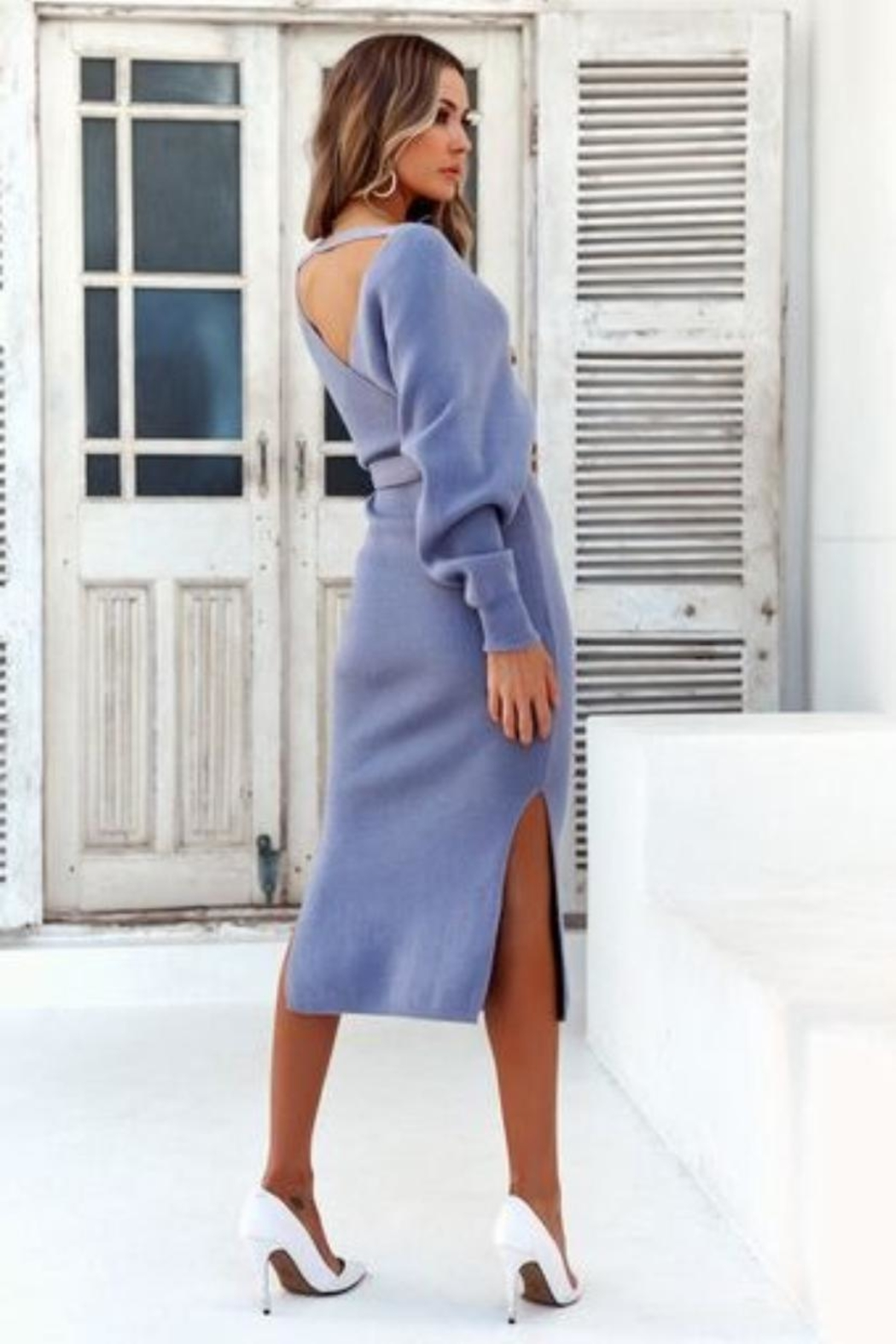 Chikas Sweater Midi Dress - Front Full Image