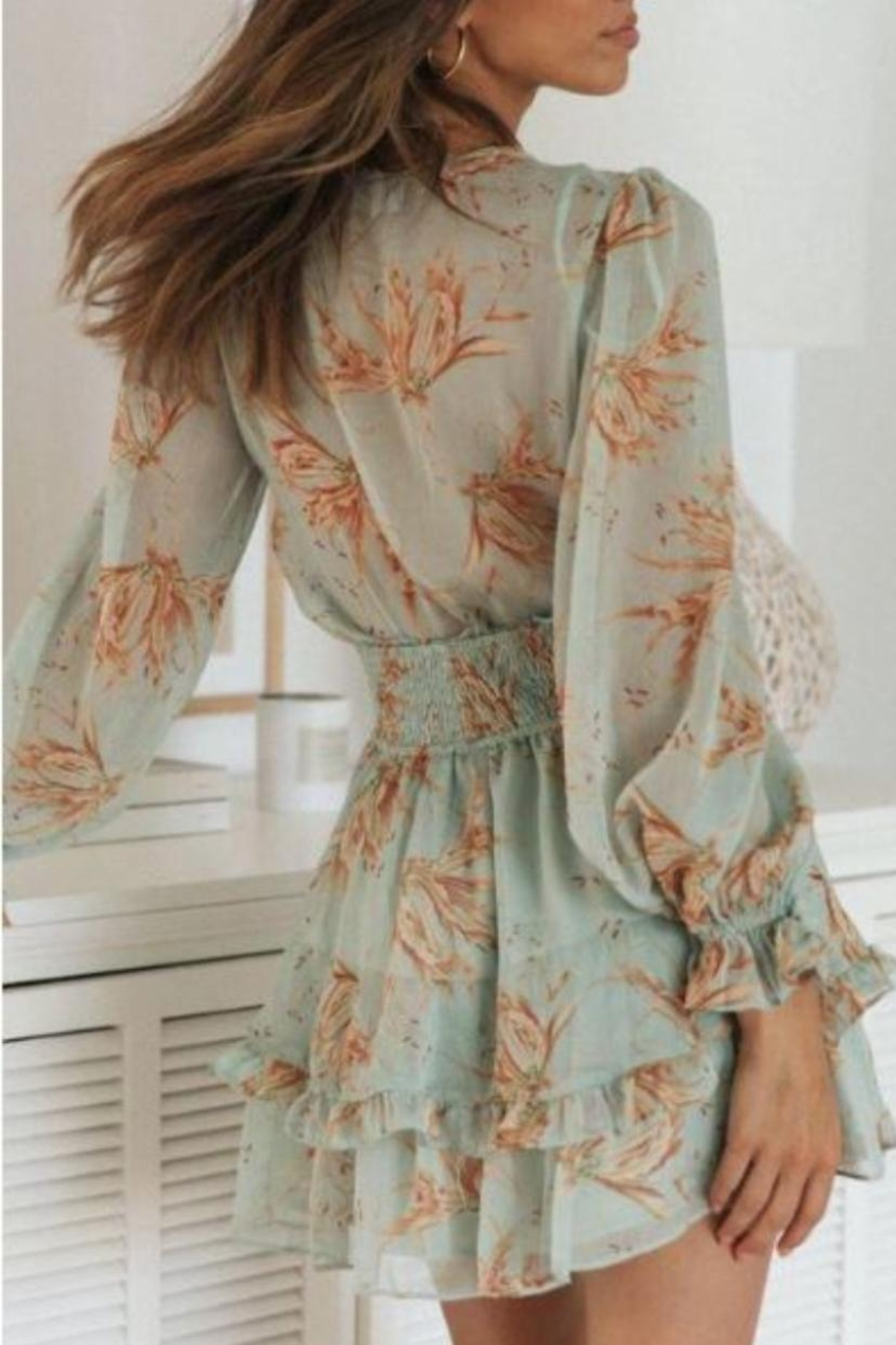 Chikas Tie-Front Floral Dress - Front Full Image
