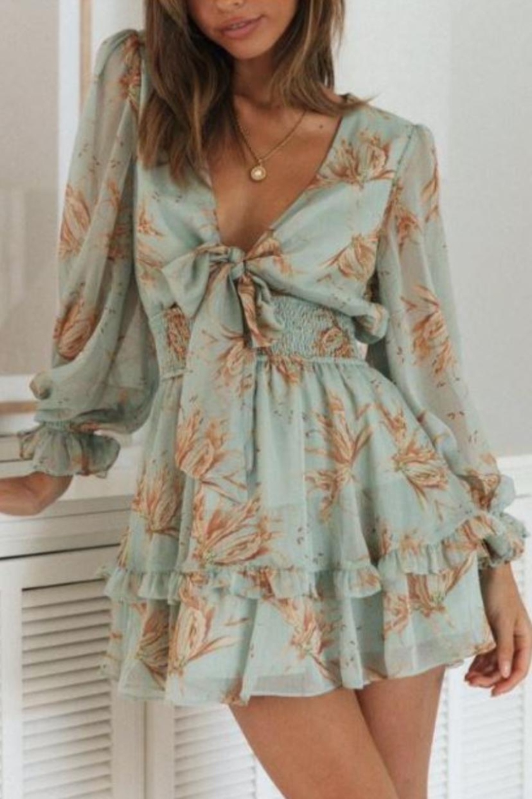 Chikas Tie-Front Floral Dress - Main Image