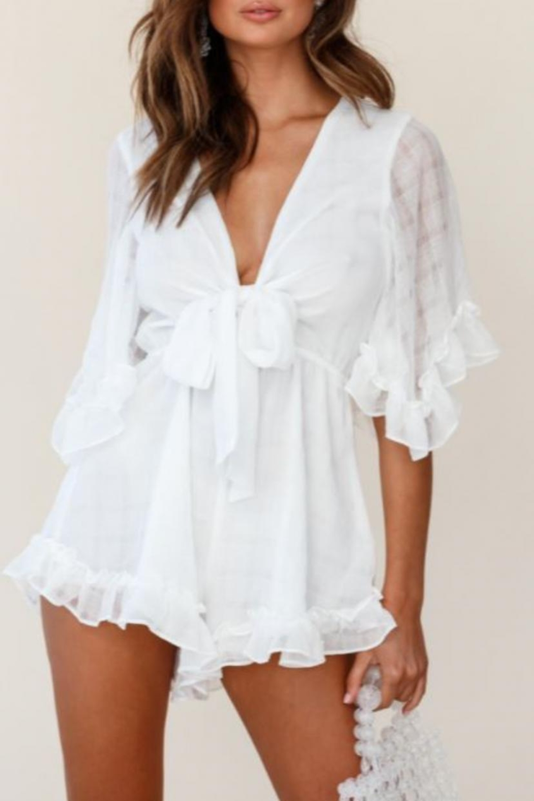 Chikas Tie Front Romper - Front Cropped Image