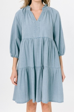 Chikas Tiered Denim Dress - Product List Image