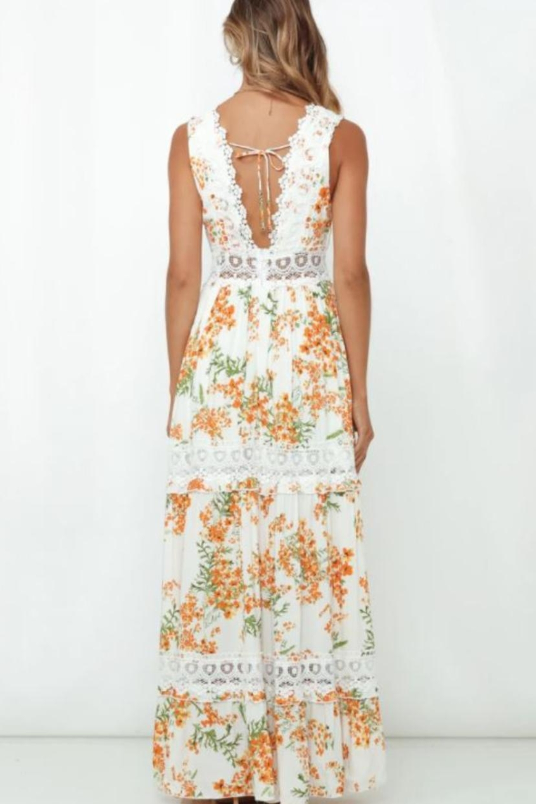 Chikas Tiered Floral Dress - Front Full Image