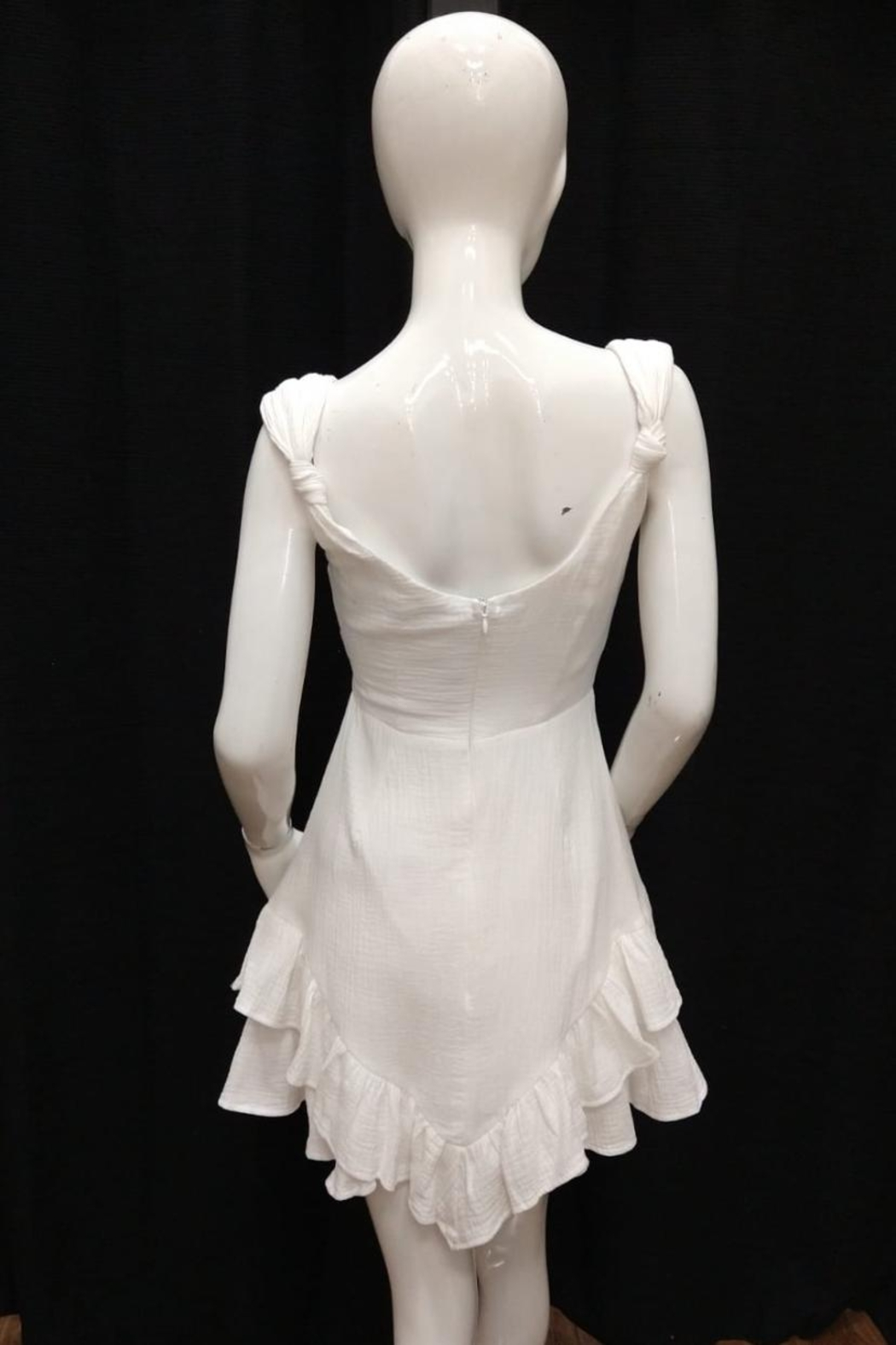 Chikas White Cotton Dress - Front Full Image