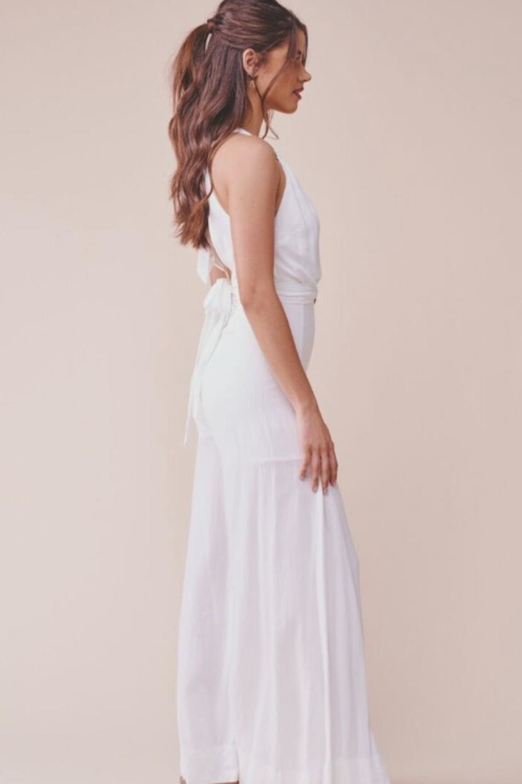 Chikas White Halter Jumpsuit - Side Cropped Image