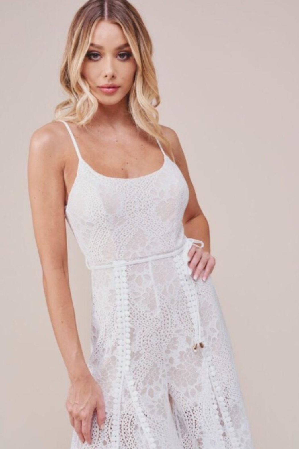 Chikas White Lace Jumpsuit - Back Cropped Image