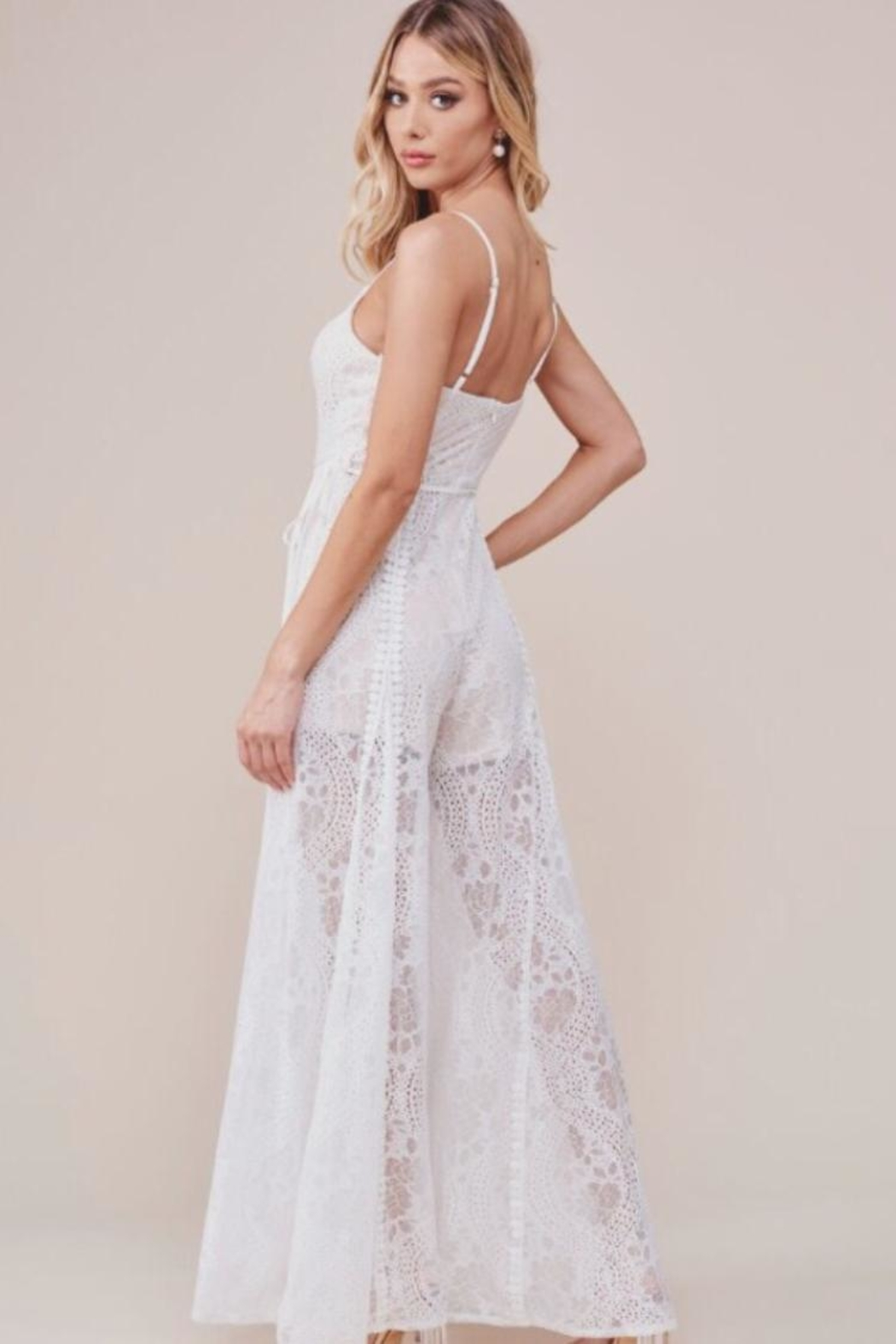 Chikas White Lace Jumpsuit - Side Cropped Image