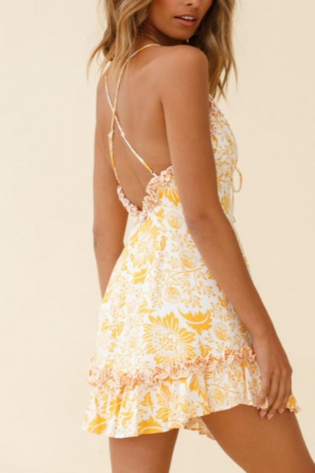Chikas Yellow Floral Dress - Front Full Image