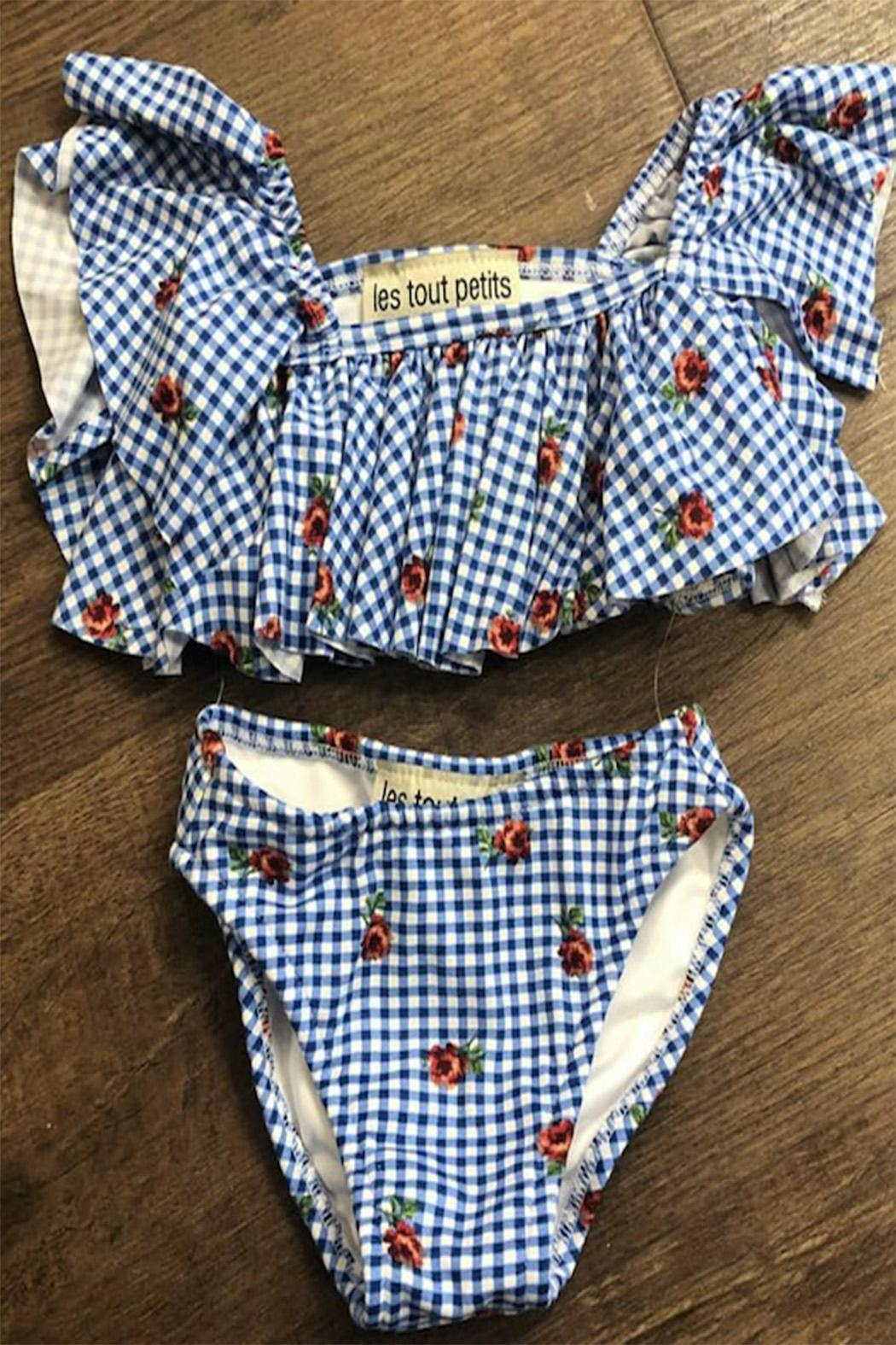 Les Tout Petits Children's Gingham Swimwear - Front Cropped Image