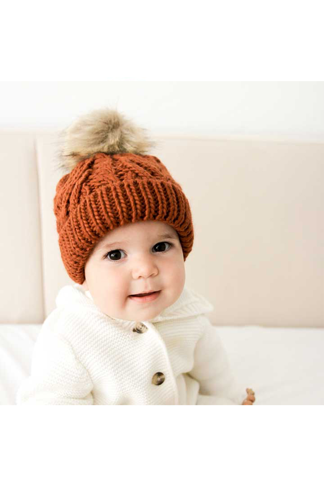 Huggalugs Chili Pom Pom Beanie Hat - Front Cropped Image