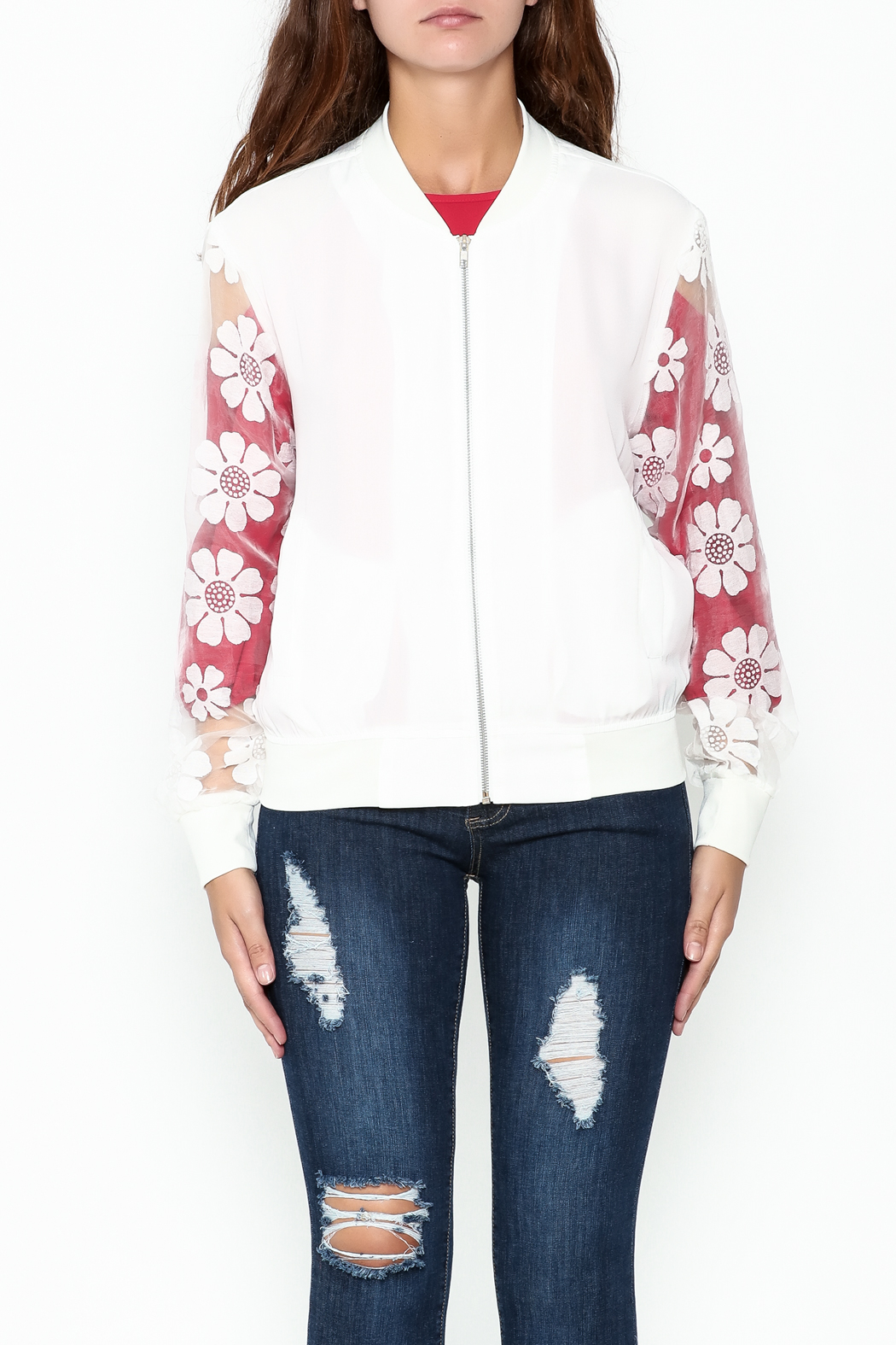 Chilia Lace Bomber Jacket - Front Full Image