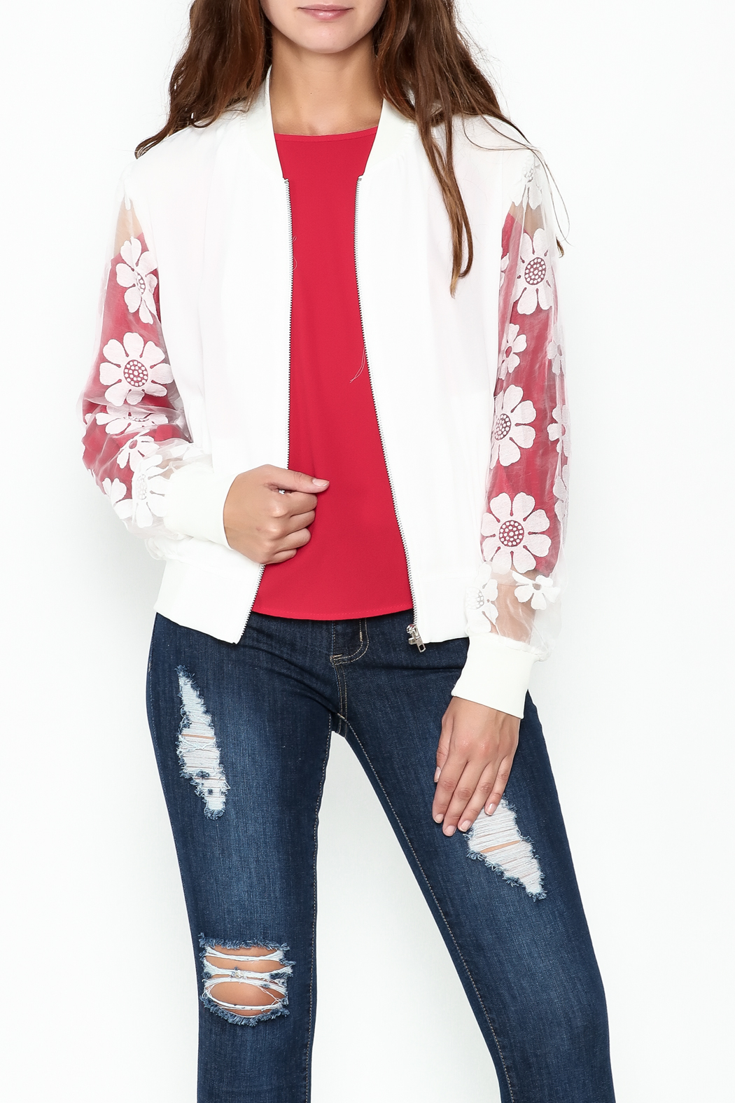 Chilia Lace Bomber Jacket - Main Image