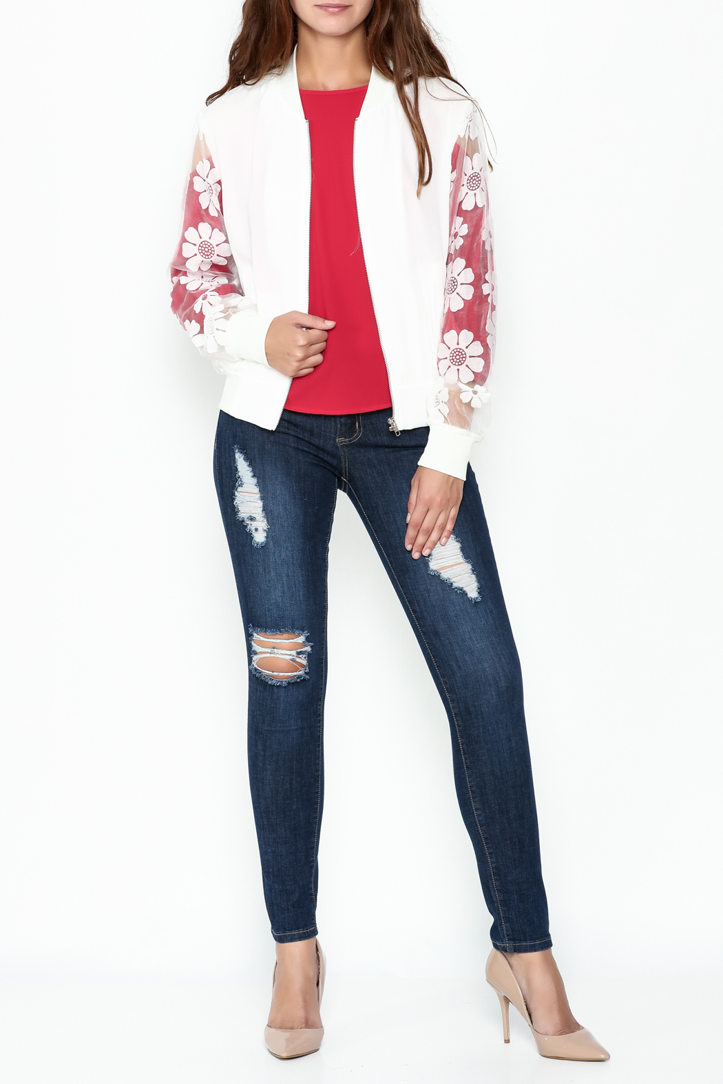 Chilia Lace Bomber Jacket - Side Cropped Image